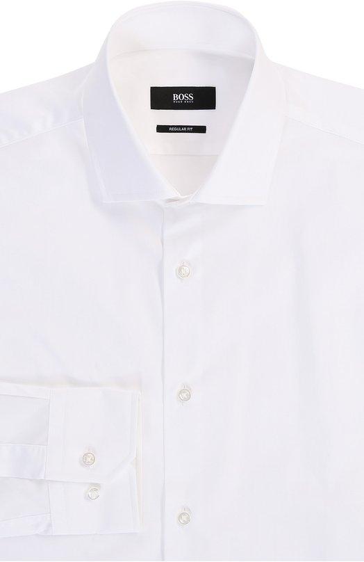 Хлопковая сорочка с воротником акула BOSSРубашки<br><br><br>Российский размер RU: 47<br>Пол: Мужской<br>Возраст: Взрослый<br>Размер производителя vendor: 47<br>Материал: Хлопков: 100%;<br>Цвет: Белый
