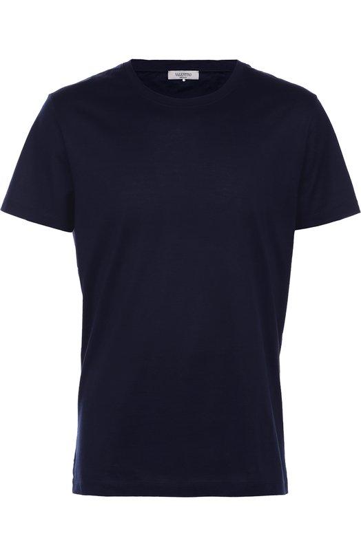 Хлопковая футболка с круглым вырезом ValentinoФутболки<br><br><br>Российский размер RU: 48<br>Пол: Мужской<br>Возраст: Взрослый<br>Размер производителя vendor: M<br>Материал: Хлопок: 100%;<br>Цвет: Синий