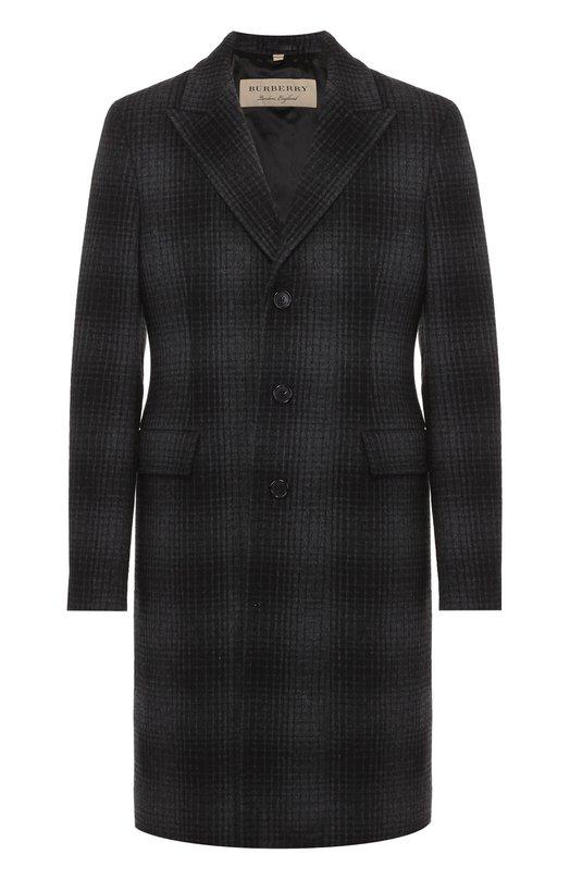 Однобортное пальто из смеси шерсти и кашемира Burberry 4015945