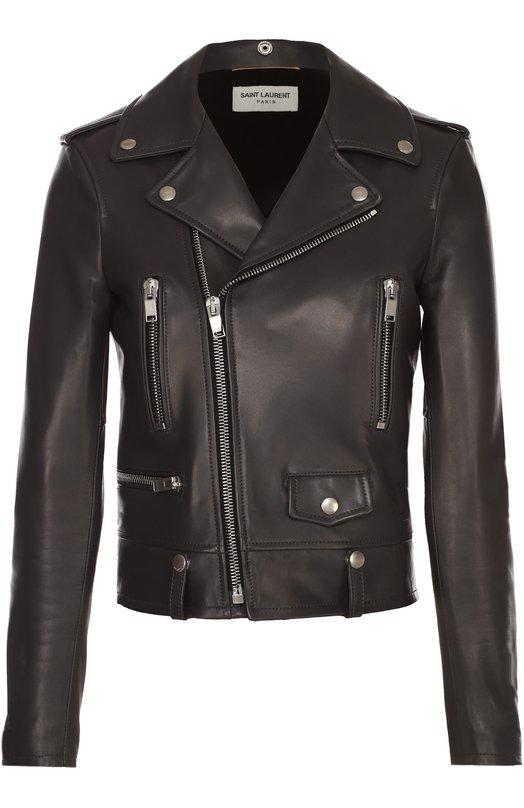 Укороченная кожаная куртка с косой молнией Saint LaurentКуртки<br><br><br>Российский размер RU: 40<br>Пол: Женский<br>Возраст: Взрослый<br>Размер производителя vendor: 38<br>Материал: Подкладка-купра: 55%; Подкладка-хлопок: 45%; Кожа натуральная: 100%;<br>Цвет: Серый