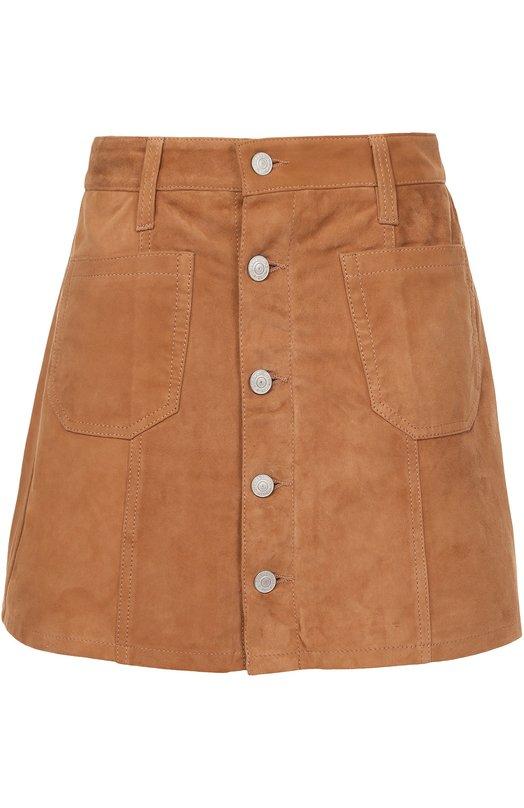 Купить Замшевая мини-юбка с накладными карманами Denim&Supply by Ralph Lauren, W21/RLBEI/SDS0Z, Индия, Песочный, Подкладка-полиэстер: 100%; Замша натуральная: 100%;