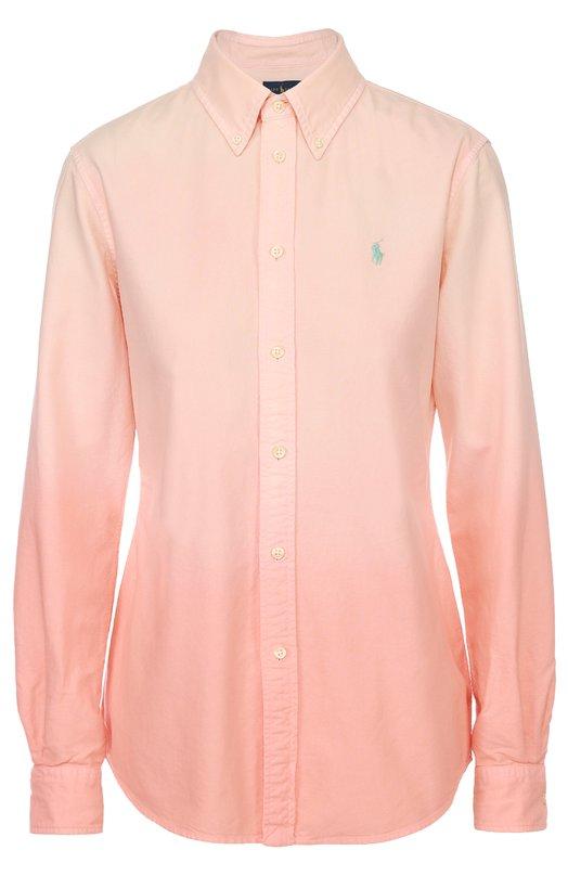 Приталенная блуза с вышитым логотипом бренда Polo Ralph LaurenБлузы<br><br><br>Российский размер RU: 44<br>Пол: Женский<br>Возраст: Взрослый<br>Размер производителя vendor: M<br>Материал: Хлопок: 100%;<br>Цвет: Розовый