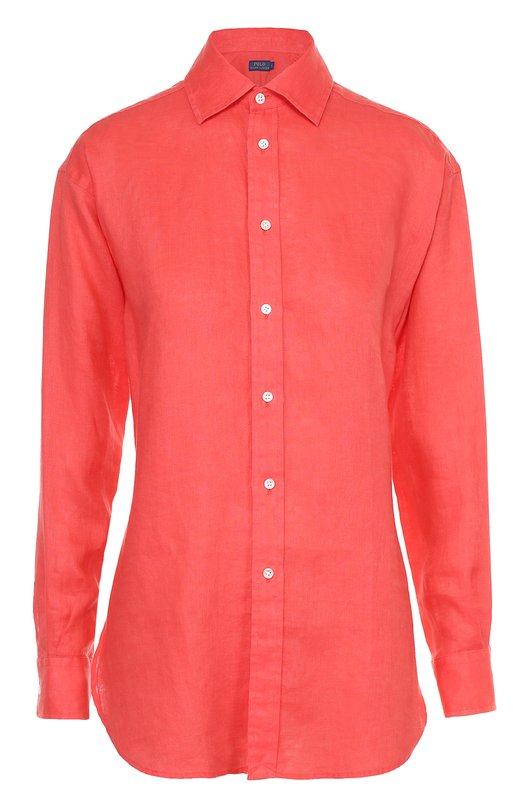 Льняная удлиненная блуза прямого кроя Polo Ralph LaurenБлузы<br><br><br>Российский размер RU: 52<br>Пол: Женский<br>Возраст: Взрослый<br>Размер производителя vendor: 14<br>Материал: Лен: 100%;<br>Цвет: Красный