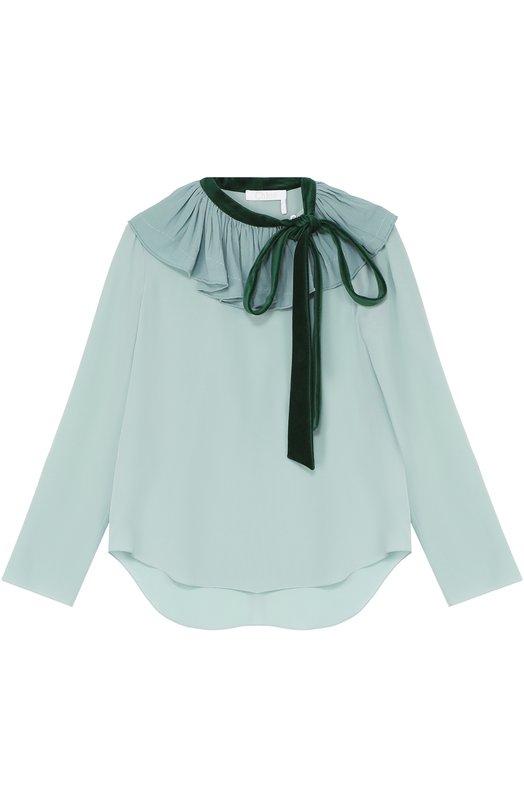 Шелковая блуза с контрастной оборкой и воротником аскот Chlo?Блузы<br>В осенне-зимнюю коллекцию 2016 года вошла свободная блуза из струящегося шелка мятного оттенка. Воротник-аскот сшит из плотного изумрудного бархата. Верх украшен широкой оборкой. Советуем сочетать с темно-синими укороченными брюками, туфлями и сумкой.<br><br>Российский размер RU: 42<br>Пол: Женский<br>Возраст: Взрослый<br>Размер производителя vendor: 36<br>Материал: Шелк: 100%; Отделка-хлопок: 100%;<br>Цвет: Светло-зеленый
