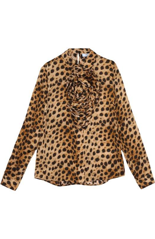 Шелковая блуза с леопардовым принтом и фактурной отделкой Blumarine 07406
