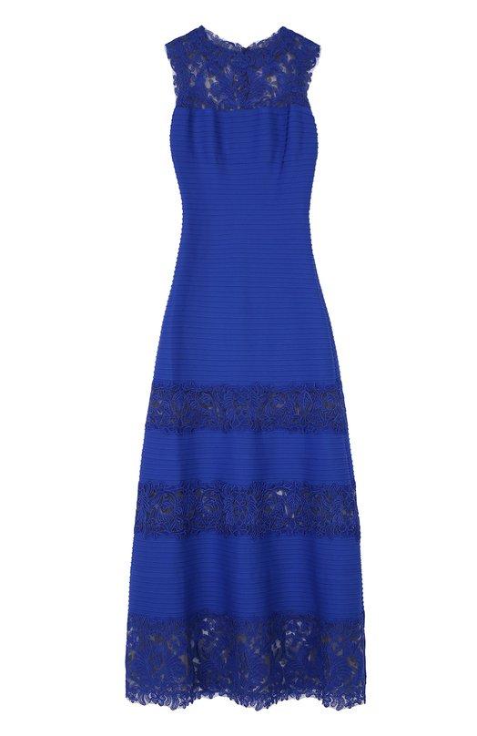 Приталенное платье в пол с кружевными вставками Tadashi Shoji Китай 5073860 ALX15241L  - купить со скидкой