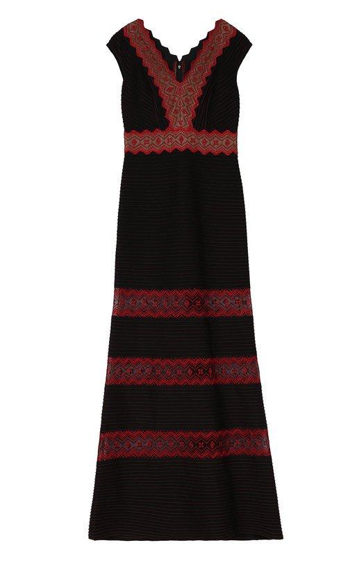 Приталенное платье в пол с кружевными вставками Tadashi Shoji Китай 5087937 AUB16459L  - купить со скидкой