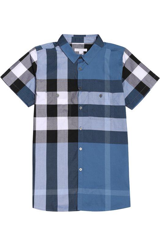 Хлопковая рубашка с короткими рукавами BurberryРубашки<br><br><br>Размер Years: 14<br>Пол: Мужской<br>Возраст: Детский<br>Размер производителя vendor: 158cm<br>Материал: Хлопок: 100%;<br>Цвет: Синий