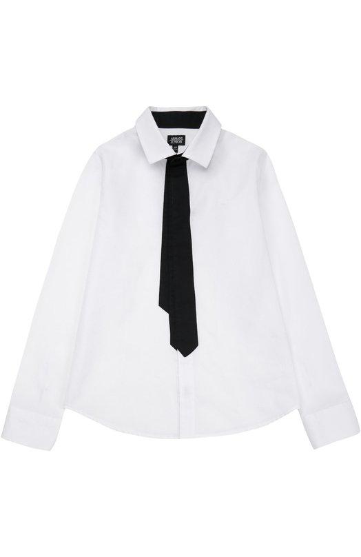 Хлопковая рубашка с декоративным галстуком Giorgio Armani 6X4C11/4N0LZ/4A-10A