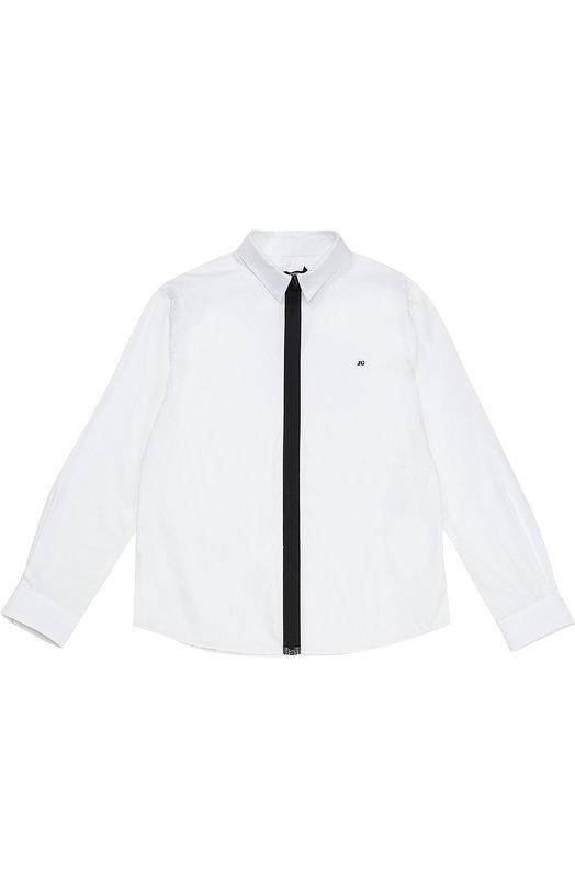 Хлопковая рубашка с контрастной молнией Jean Paul Gaultier 5I12504/8-12A+