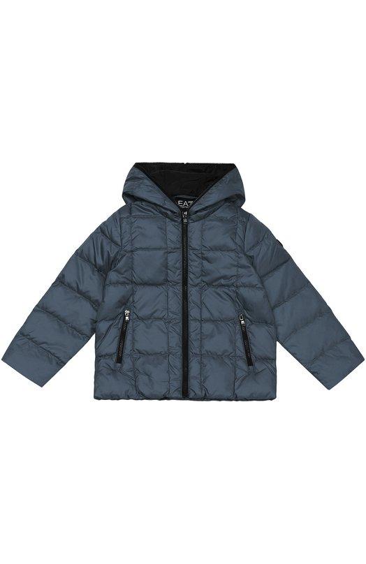Стеганый пуховик на молнии с капюшоном Ea 7Верхняя одежда<br><br><br>Размер Years: 8<br>Пол: Мужской<br>Возраст: Детский<br>Размер производителя vendor: 128-134cm<br>Материал: Пух: 80%; Перо: 20%; Полиэстер: 100%; Подкладка-полиамид: 100%;<br>Цвет: Темно-синий