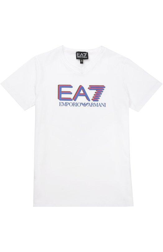Хлопковая футболка с контрастной надписью Ea 7Футболки<br><br><br>Размер Years: 8<br>Пол: Мужской<br>Возраст: Детский<br>Размер производителя vendor: 128-134cm<br>Материал: Хлопок: 100%;<br>Цвет: Белый
