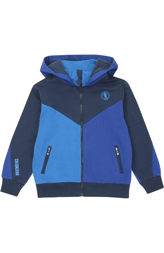 Хлопковая толстовка на молнии с капюшоном Dirk BikkembergsКардиганы<br><br><br>Размер Years: 4<br>Пол: Мужской<br>Возраст: Детский<br>Размер производителя vendor: 104-110cm<br>Материал: Хлопок: 100%;<br>Цвет: Темно-синий