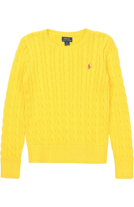 Хлопковый джемпер фактурной вязки с логотипом бренда Polo Ralph LaurenСвитеры<br><br><br>Размер Years: 12<br>Пол: Женский<br>Возраст: Детский<br>Размер производителя vendor: 146-160cm<br>Материал: Хлопок: 100%;<br>Цвет: Желтый