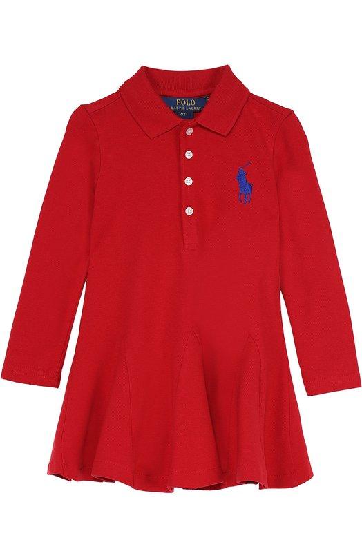Хлопковое платье с длинными рукавами Polo Ralph LaurenПлатья<br><br><br>Размер Months: 18<br>Пол: Женский<br>Возраст: Детский<br>Размер производителя vendor: 86-92cm<br>Материал: Хлопок: 98%; Эластан: 2%;<br>Цвет: Красный