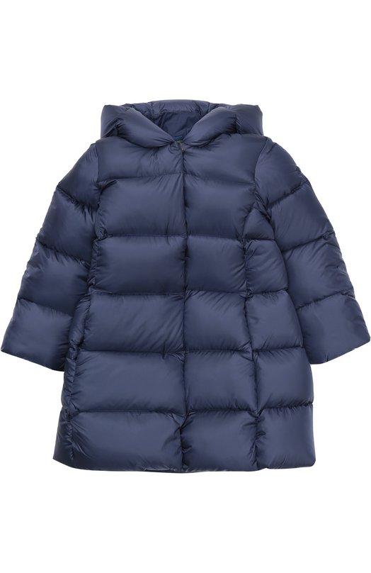 Стеганый пуховик с капюшоном Polo Ralph LaurenВерхняя одежда<br><br><br>Размер Years: 5<br>Пол: Женский<br>Возраст: Детский<br>Размер производителя vendor: 110-116cm<br>Материал: Пух: 90%; Полиамид: 100%; Подкладка-нейлон: 100%; Перо: 10%;<br>Цвет: Синий