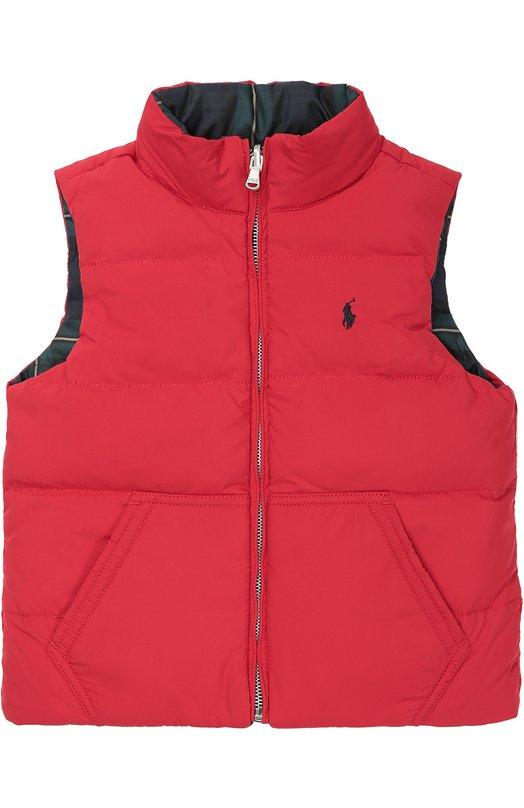 Стеганый пуховый жилет на молнии Polo Ralph LaurenВерхняя одежда<br><br><br>Размер Years: 7<br>Пол: Женский<br>Возраст: Детский<br>Размер производителя vendor: 122-128cm<br>Материал: Пух: 75%; Перо: 25%; Полиэстер: 100%; Подкладка-полиэстер: 100%;<br>Цвет: Красный
