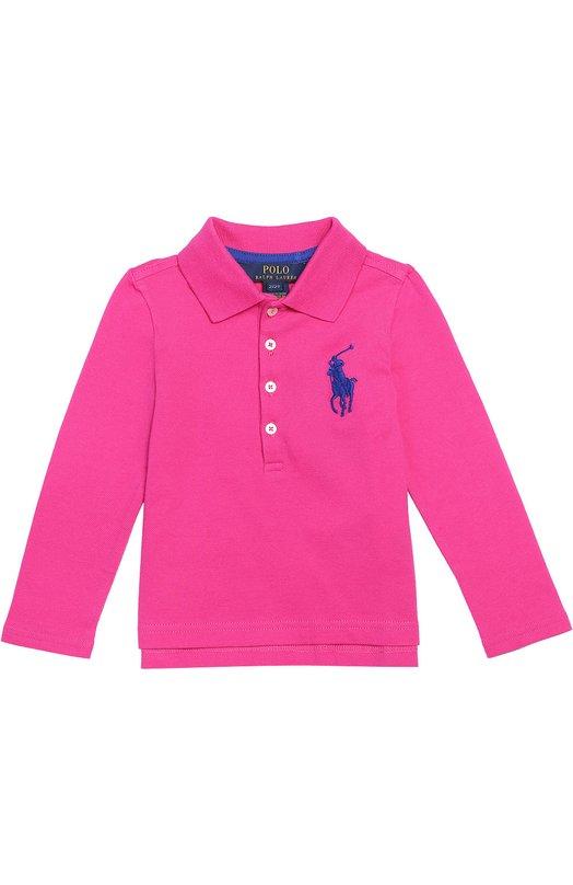 Хлопковое поло с длинными рукавами Polo Ralph LaurenПоло<br><br><br>Размер Years: 3<br>Пол: Женский<br>Возраст: Детский<br>Размер производителя vendor: 98-104cm<br>Материал: Хлопок: 98%; Эластан: 2%;<br>Цвет: Розовый