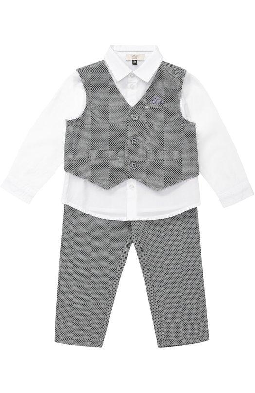 Рубашка в комплекте с брюками и жилетом Giorgio ArmaniОдежда<br><br><br>Размер Months: 24<br>Пол: Женский<br>Возраст: Для малышей<br>Размер производителя vendor: 92-98cm<br>Материал: Хлопок: 100%; Подкладка-полиэстер: 100%;<br>Цвет: Синий