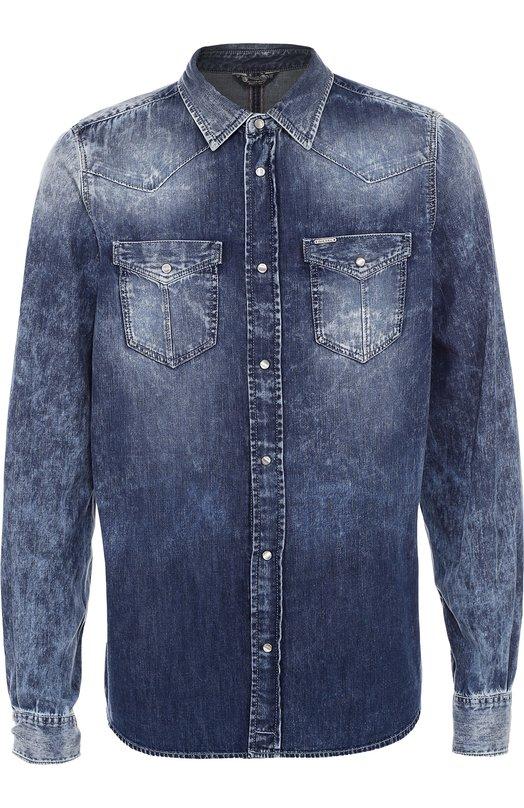 Джинсовая рубашка на кнопках DieselРубашки<br><br><br>Российский размер RU: 50<br>Пол: Мужской<br>Возраст: Взрослый<br>Размер производителя vendor: L<br>Материал: Хлопок: 100%;<br>Цвет: Синий