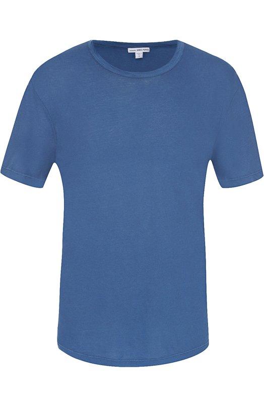 Хлопковая футболка с круглым вырезом James PerseФутболки<br><br><br>Российский размер RU: 44<br>Пол: Мужской<br>Возраст: Взрослый<br>Размер производителя vendor: 1<br>Материал: Хлопок: 100%;<br>Цвет: Синий