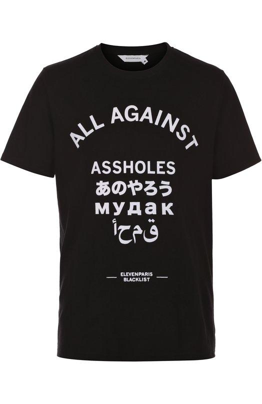 Хлопковая футболка с контрастной надписью Elevenparis 16F1TS101
