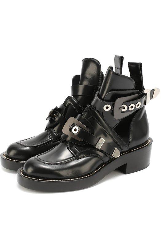 Кожаные ботинки с ремешками Balenciaga 326291/WART0