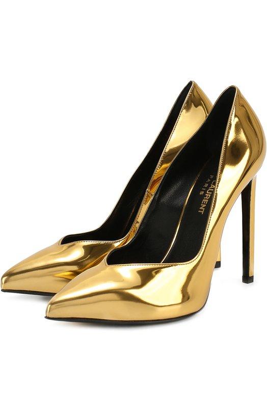 Туфли Paris Skinny из металлизированной кожи Saint Laurent 448091/GS100