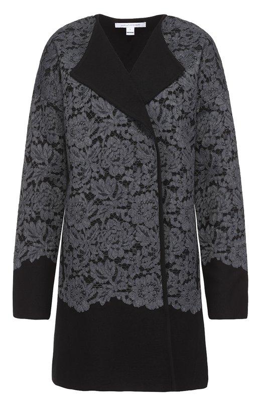 Пальто прямого кроя с кружевной отделкой и спущенным рукавом Diane Von Furstenberg S926301G16