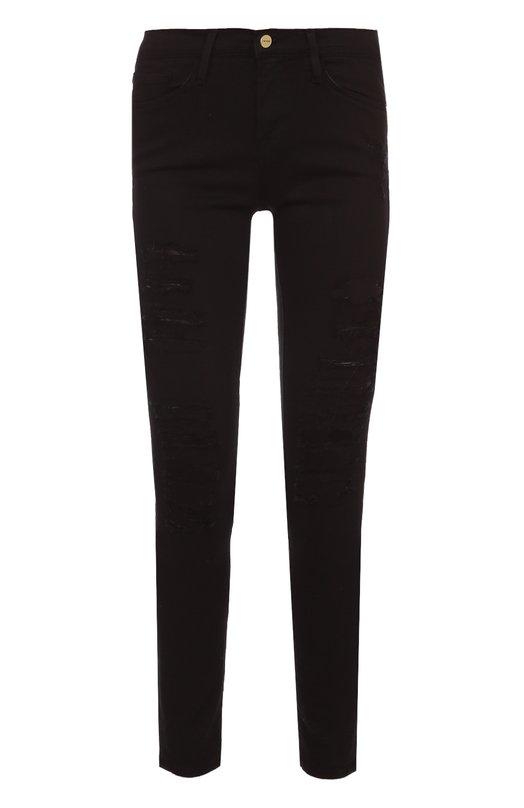 Джинсы-скинни с декоративными потертостями Frame DenimДжинсы<br>Облегающие женские джинсы с потертостями. Такая модель - стильный вариант образа в стиле рок-н-ролл. Дополните модель туфлями на высокой шпильке.<br><br>Российский размер RU: 42<br>Пол: Женский<br>Возраст: Взрослый<br>Размер производителя vendor: 24<br>Материал: Хлопок: 91.5%; Полиэстер: 6%; Лайкра: 2.5%;<br>Цвет: Черный