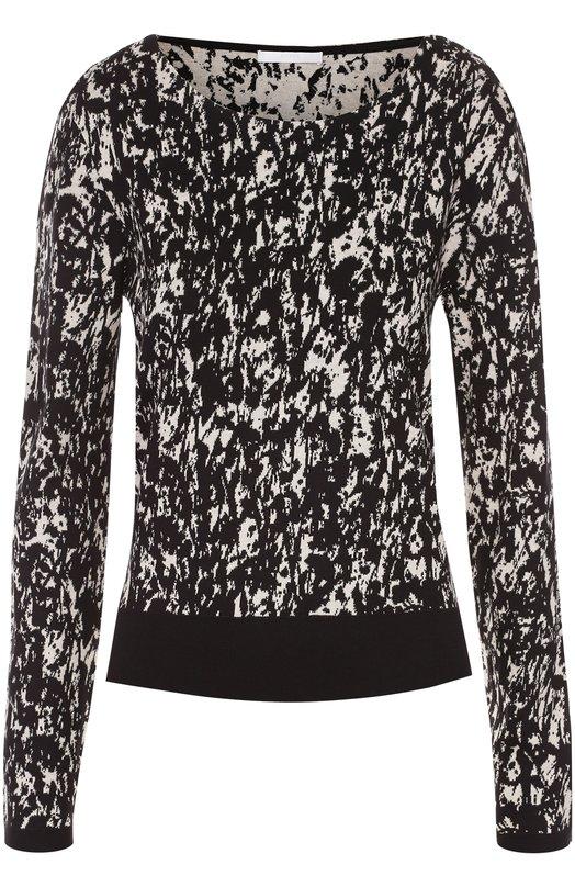 Хлопковый пуловер с круглым вырезом и контрастным принтом HUGO 50322823