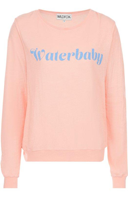 Пуловер прямого кроя с контрастной надписью Wildfox WJT61388J