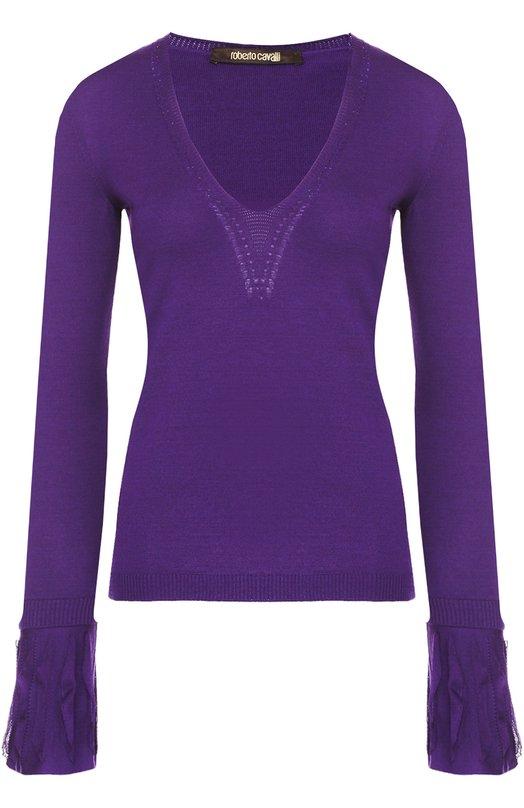 Приталенный пуловер с V-образным вырезом с кружевной отделкой Roberto Cavalli DKM585/MQ001