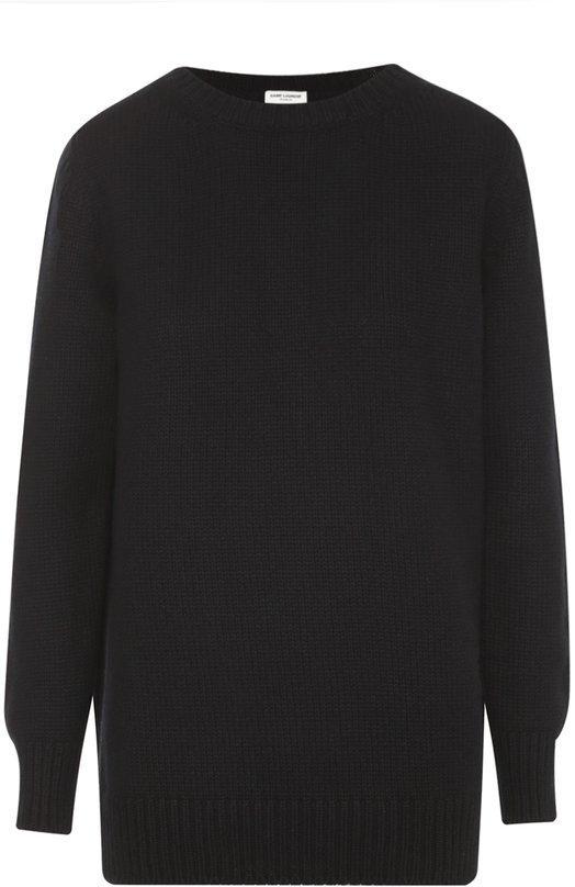 Кашемировый пуловер фактурной вязки с круглым вырезом Saint LaurentСвитеры<br><br><br>Российский размер RU: 52<br>Пол: Женский<br>Возраст: Взрослый<br>Размер производителя vendor: XL<br>Материал: Кашемир: 100%;<br>Цвет: Черный