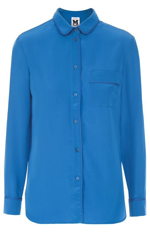 Шелковая блуза прямого кроя с накладным карманом M MissoniБлузы<br><br><br>Российский размер RU: 42<br>Пол: Женский<br>Возраст: Взрослый<br>Размер производителя vendor: 40<br>Материал: Шелк: 100%;<br>Цвет: Бирюзовый