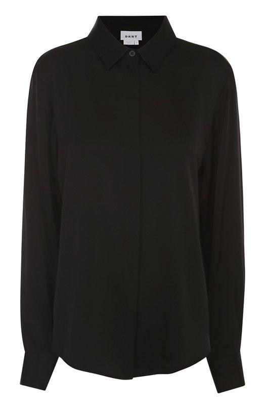 Шелковая блуза прямого кроя DKNYБлузы<br><br><br>Российский размер RU: 48<br>Пол: Женский<br>Возраст: Взрослый<br>Размер производителя vendor: L<br>Материал: Шелк: 93%; Эластан: 7%;<br>Цвет: Черный