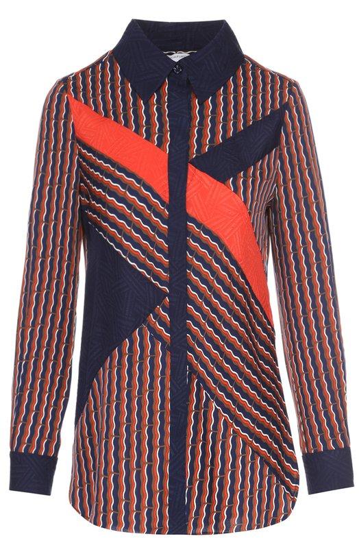 Шелковая блуза прямого кроя с контрастным принтом Diane Von FurstenbergБлузы<br><br><br>Российский размер RU: 46<br>Пол: Женский<br>Возраст: Взрослый<br>Размер производителя vendor: 8<br>Материал: Шелк: 95%; Эластан: 5%; Отделка-шелк: 100%;<br>Цвет: Разноцветный