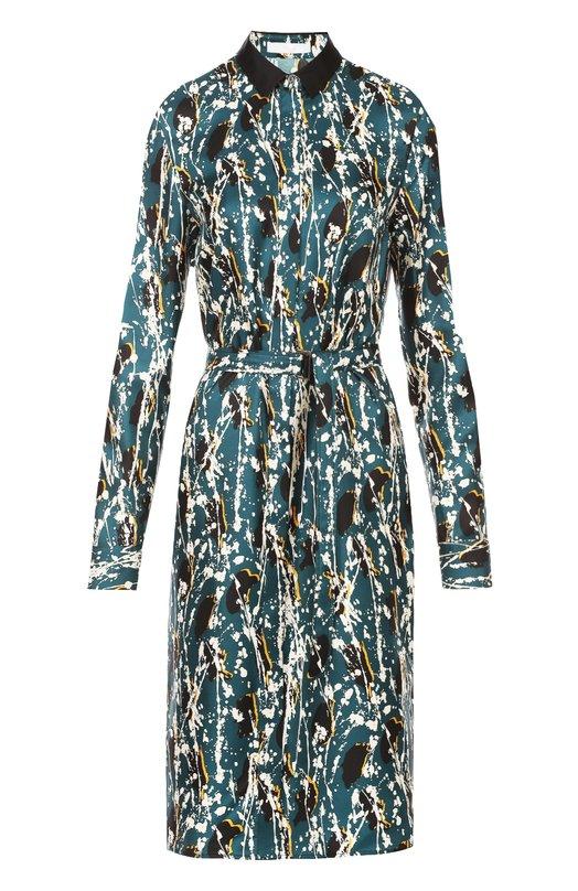 Шелковое платье-рубашка с поясом и контрастным принтом HUGOПлатья<br><br><br>Российский размер RU: 46<br>Пол: Женский<br>Возраст: Взрослый<br>Размер производителя vendor: 38<br>Материал: Шелк: 100%;<br>Цвет: Зеленый