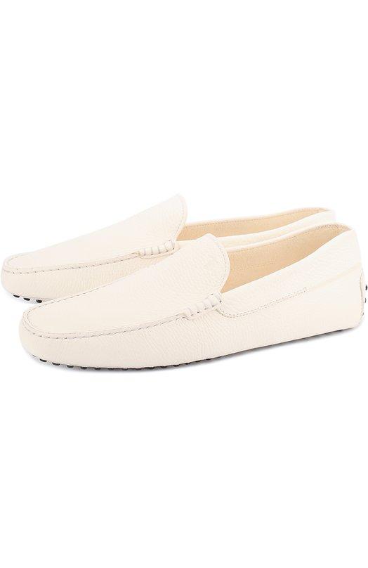 Кожаные мокасины New Gommini 122 Tod'sМокасины<br>Мокасины New Gommini 122 сшиты из матовой зерненой кожи белого цвета. Модель вошла в коллекцию сезона весна-лето 2017 года. В обуви будет удобно водить автомобиль, т.к. резиновые шипы на заднике защищают пятку. Такие же вшиты в подошву.<br><br>Российский размер RU: 44<br>Пол: Мужской<br>Возраст: Взрослый<br>Размер производителя vendor: 10<br>Материал: Кожа натуральная: 100%; Стелька-кожа: 100%; Подошва-кожа: 100%; Подошва-резина: 100%;<br>Цвет: Белый