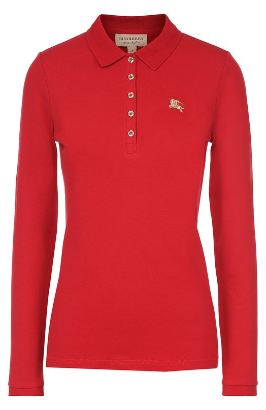 Поло с длинным рукавом и вышитым логотипом бренда Burberry 4030469