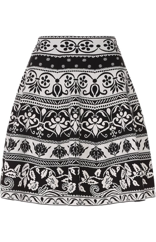 Мини-юбка с широким поясом и контрастным принтом Alexander McQueen 461071/Q1R0G