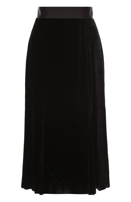 Бархатная юбка-миди с широким поясом Dolce &amp; GabbanaЮбки<br>Доменико Дольче и Стефано Габбана включили в коллекцию сезона весна-лето 2017 года черную юбку длиной ниже колена. Модель сшита из мягкого бархата с добавлением гладких шелковых волокон. Широкий пояс выполнен из гладкой ткани в тон. Изделие застегивается на потайную молнию сзади.<br><br>Российский размер RU: 52<br>Пол: Женский<br>Возраст: Взрослый<br>Размер производителя vendor: 50<br>Материал: Подкладка-шелк: 86%; Подкладка-хлопок: 8%; Вискоза: 75%; Подкладка-эластан: 4%; Шелк: 25%; Подкладка-полиамид: 2%;<br>Цвет: Черный