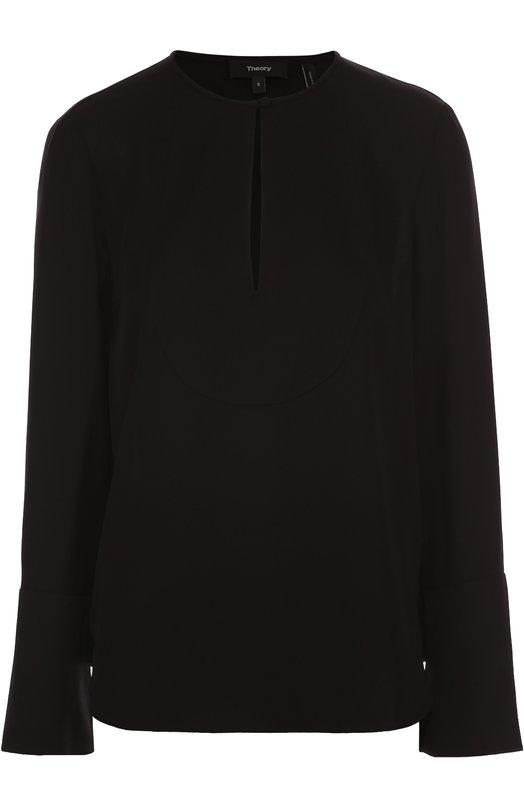 Шелковая блуза прямого кроя с вырезом-капелька TheoryБлузы<br><br><br>Российский размер RU: 44<br>Пол: Женский<br>Возраст: Взрослый<br>Размер производителя vendor: S<br>Материал: Шелк: 100%;<br>Цвет: Черный