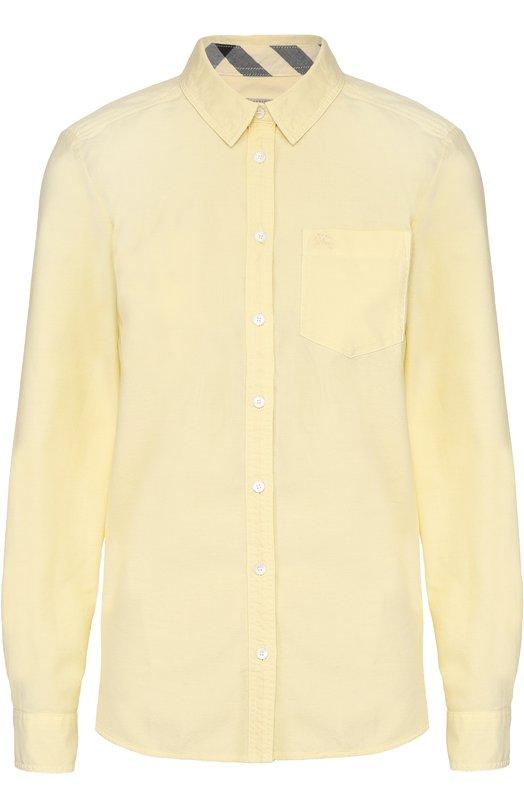 Хлопковая блуза прямого кроя с накладным карманом BurberryБлузы<br><br><br>Российский размер RU: 42<br>Пол: Женский<br>Возраст: Взрослый<br>Размер производителя vendor: XS<br>Материал: Хлопок: 100%;<br>Цвет: Желтый