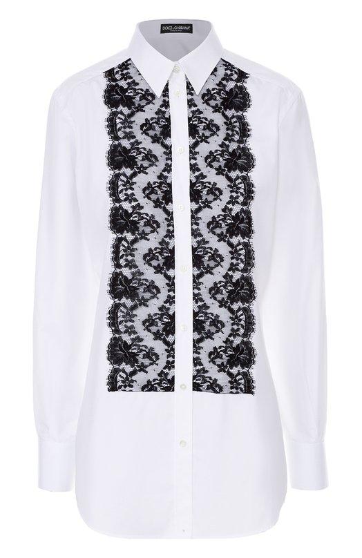 Удлиненная блуза с контрастной кружевной отделкой Dolce &amp; GabbanaБлузы<br>Доменико Дольче и Стефано Габбана украсили удлиненную белую рубашку из мягкого поплина отделкой из тонкого черного кружева с цветочным узором. Модель с длинными рукавами и отложным воротником вошла в весенне-летнюю коллекцию 2017 года. Советуем носить с темными кюлотами и босоножками.<br><br>Российский размер RU: 40<br>Пол: Женский<br>Возраст: Взрослый<br>Размер производителя vendor: 38<br>Материал: Хлопок: 90%; Вискоза: 5%; Полиамид: 5%;<br>Цвет: Белый