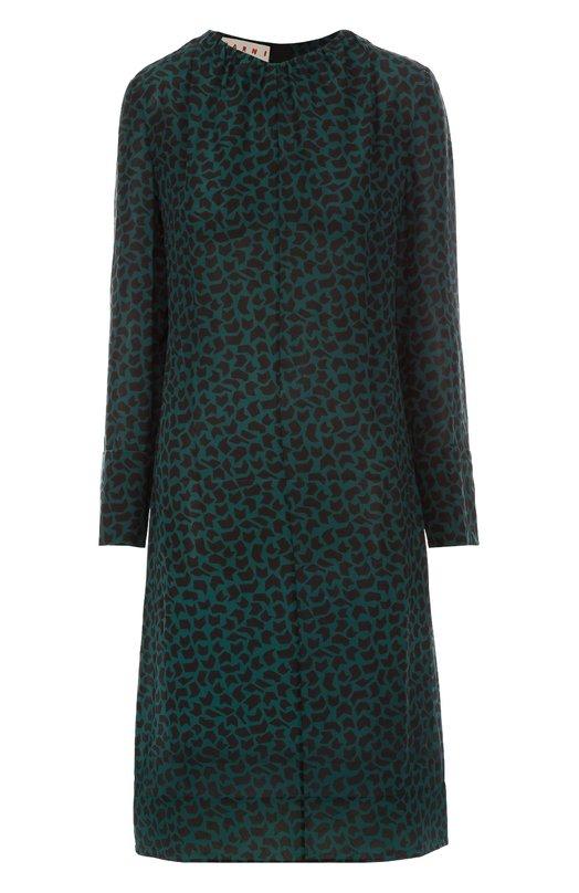 Шелковое платье прямого кроя с контрастным принтом MarniПлатья<br><br><br>Российский размер RU: 48<br>Пол: Женский<br>Возраст: Взрослый<br>Размер производителя vendor: 46<br>Материал: Шелк: 100%;<br>Цвет: Зеленый