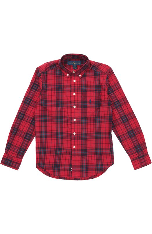 Хлопковая рубашка с воротником button down Polo Ralph LaurenРубашки<br><br><br>Размер Years: 12<br>Пол: Мужской<br>Возраст: Детский<br>Размер производителя vendor: 146-152cm<br>Материал: Хлопок: 100%;<br>Цвет: Красный
