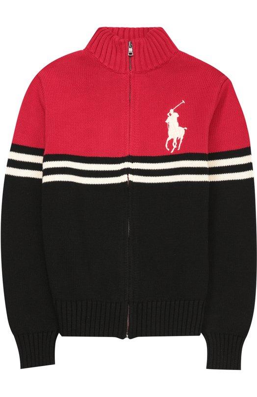 Хлопковый кардиган на молнии с воротником-стойкой Polo Ralph LaurenКардиганы<br><br><br>Размер Years: 10<br>Пол: Мужской<br>Возраст: Детский<br>Размер производителя vendor: 140-146cm<br>Материал: Хлопок: 100%;<br>Цвет: Красный