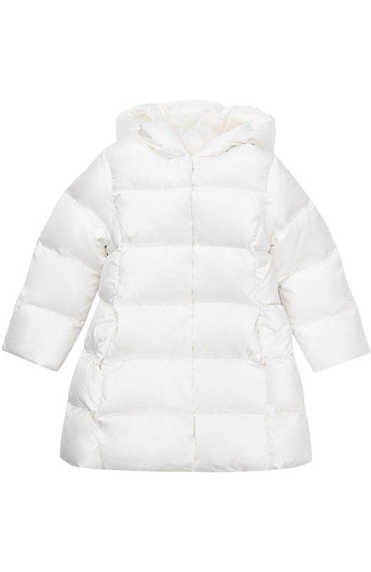 Стеганый пуховик с капюшоном Polo Ralph LaurenВерхняя одежда<br><br><br>Размер Years: 5<br>Пол: Женский<br>Возраст: Детский<br>Размер производителя vendor: 110-116cm<br>Материал: Пух: 90%; Полиамид: 100%; Подкладка-нейлон: 100%; Перо: 10%;<br>Цвет: Белый