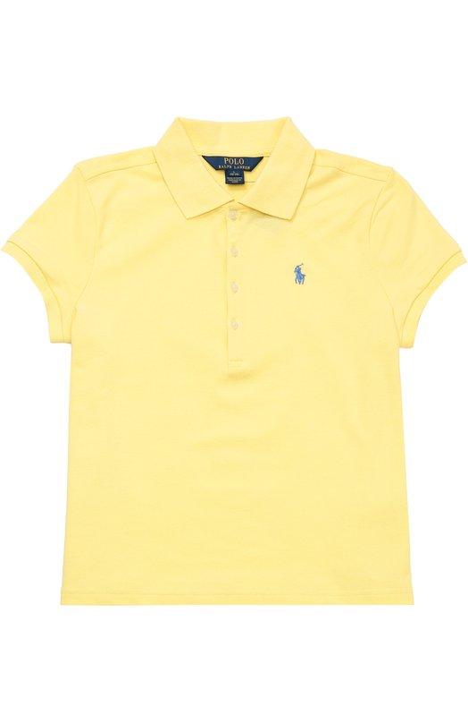 Хлопковое поло с вышитым логотипом бренда Polo Ralph LaurenПоло<br><br><br>Размер Years: 12<br>Пол: Женский<br>Возраст: Детский<br>Размер производителя vendor: 146-160cm<br>Материал: Хлопок: 98%; Эластан: 2%;<br>Цвет: Желтый